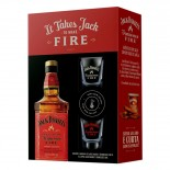 Kit Whisky Jack Daniels Fire 1000 ml com 2 Copos