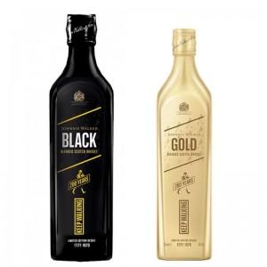 Kit Whisky Johnnie Walker Black Edição 200 Anos 1000 ml + Whisky Johnnie Walker Gold Reserve Edição 200 Anos 750 ml