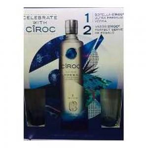 Kit Vodka Ciroc 750 ml + 2 Copos De Vidro