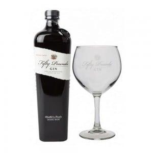 Kit Gin Fifty Pounds London Dry 750 ml + Taça Vidro Original