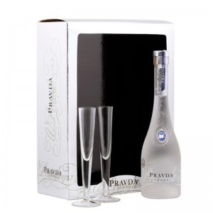 Vodka Pravda 375 ml - Pack 2 Copos