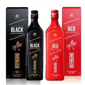 Kit Whisky Johnnie Walker Red Edição 200 Anos 750 ml + Whisky Johnnie Walker Black Edição 200 Anos 750 ml