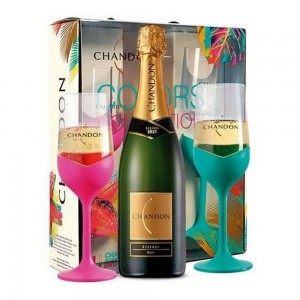 Kit Espumante Chandon Brut Color 2 Taças 750 ml