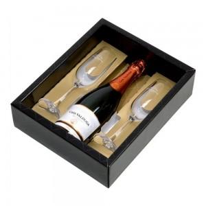 Kit Espumante Casa Valduga Arte Brut 750 ml com 2 Taças