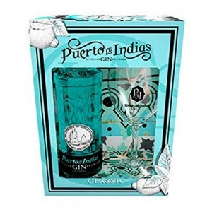 Kit Gin Puerto De Indias Classic 700 ml com Taça