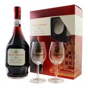 Kit Vinho Royal Oporto 10 Anos 750 ml + 2 Taças