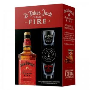 Kit Whisky Jack Daniels Fire 1000 ml com 2 Copos