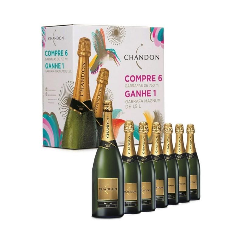 Kit Espumante Chandon 6 Garrafas 750 + 1 Chandon Magnun 1500 ml Grátis 750 ml